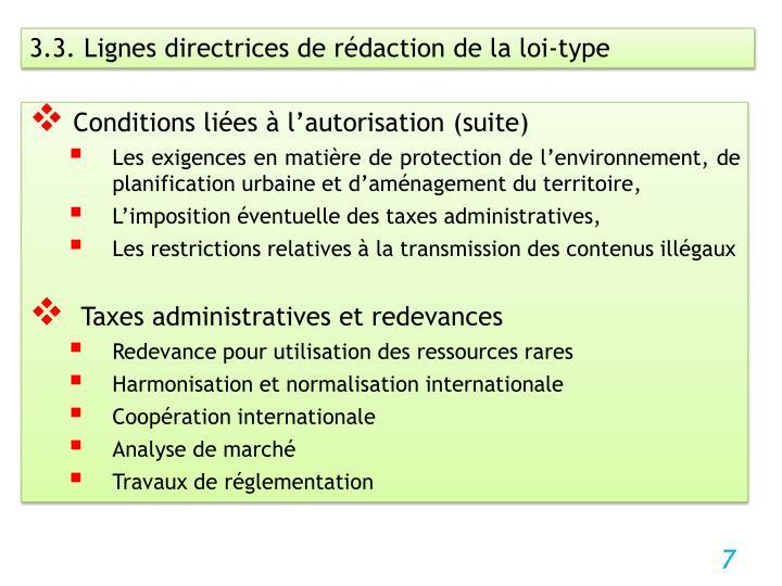 3.3. Lignes directrices de rédaction de la loi-type