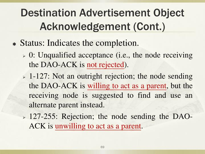Destination Advertisement Object Acknowledgement (Cont.)