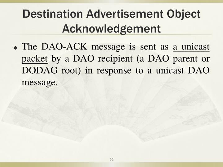 Destination Advertisement Object Acknowledgement