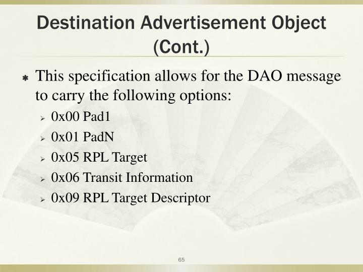 Destination Advertisement Object (Cont.)