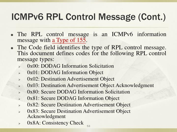 ICMPv6 RPL Control