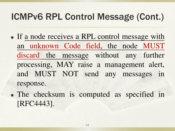 ICMPv6 RPL Control Message (Cont.)
