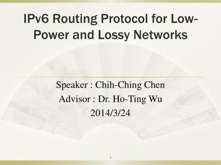 Ipv6 routing protocol for low power and lossy networks