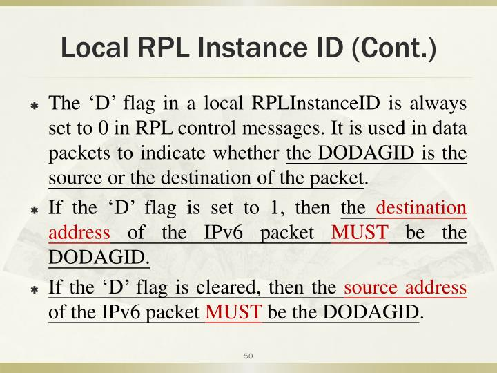 Local RPL Instance ID (Cont.)