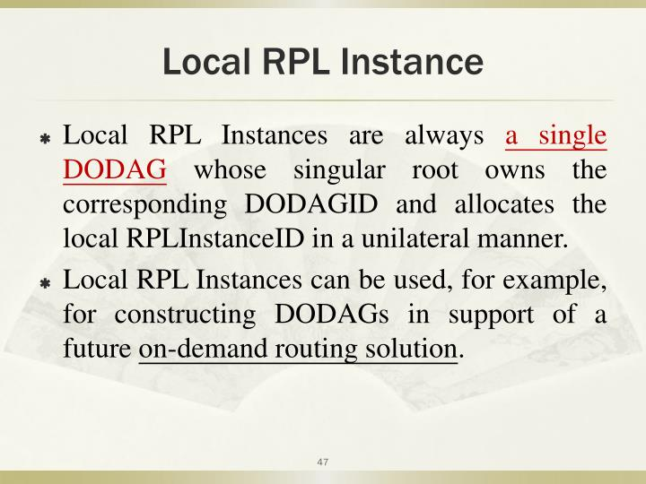 Local RPL Instance