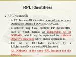 rpl identifiers