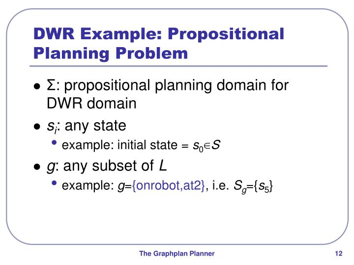 DWR Example: Propositional Planning Problem