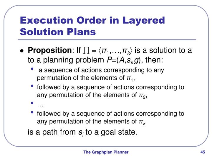 Execution Order in Layered Solution Plans
