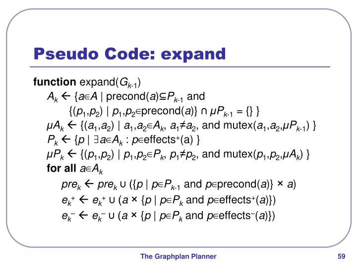 Pseudo Code: expand