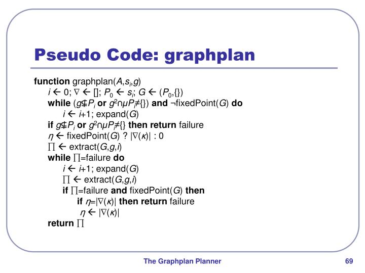 Pseudo Code: graphplan