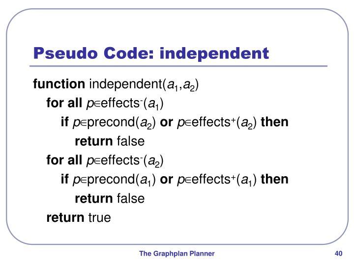 Pseudo Code: independent