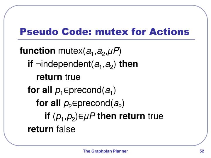 Pseudo Code: mutex for Actions