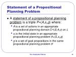statement of a propositional planning problem