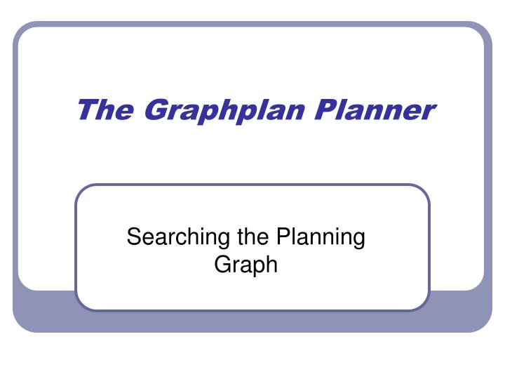 The graphplan planner