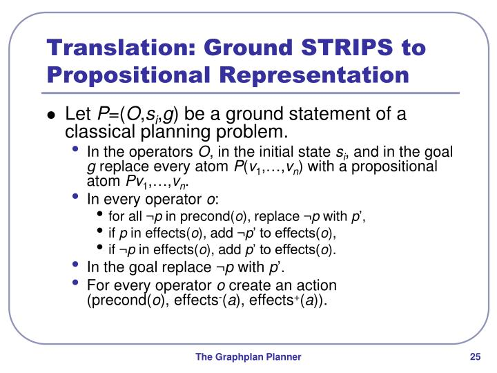 Translation: Ground STRIPS to Propositional Representation