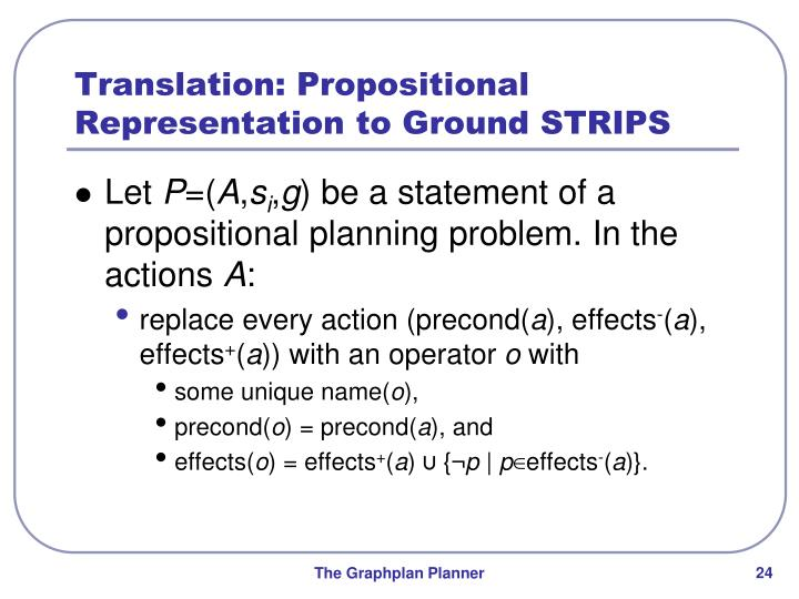 Translation: Propositional Representation to Ground STRIPS