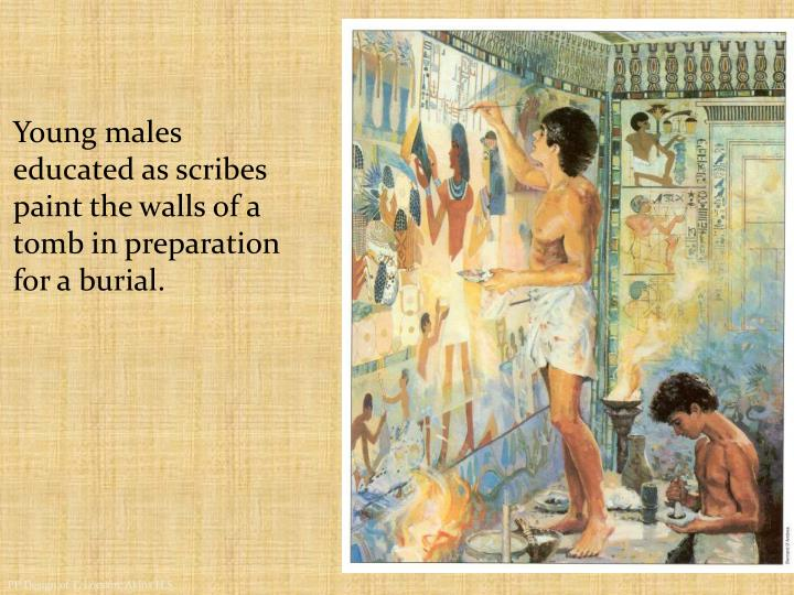 Young males educated as scribes paint the walls of a tomb in preparation for a burial.