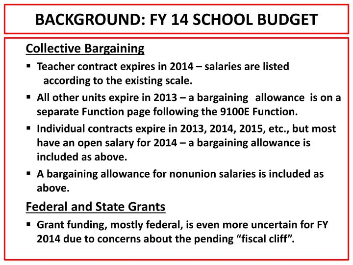 BACKGROUND: FY 14 SCHOOL BUDGET