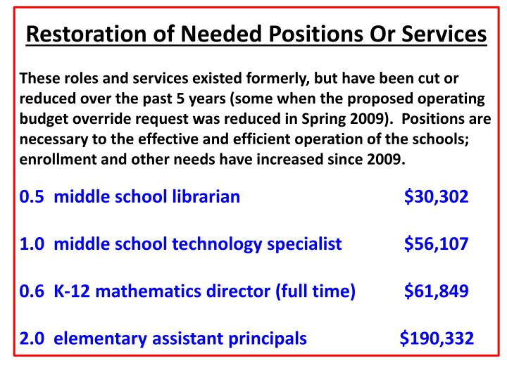 Restoration of Needed Positions Or Services