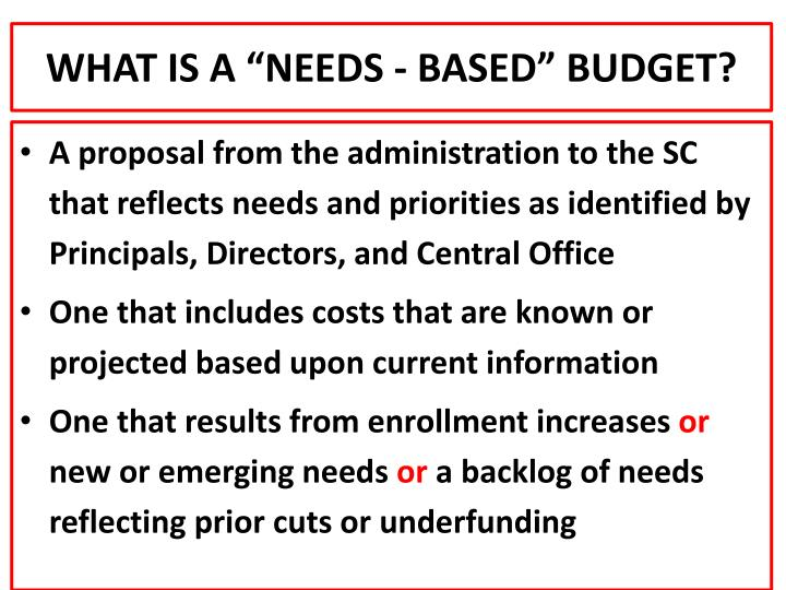 "WHAT IS A ""NEEDS - BASED"" BUDGET?"