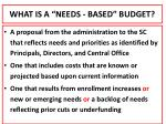 what is a needs based budget