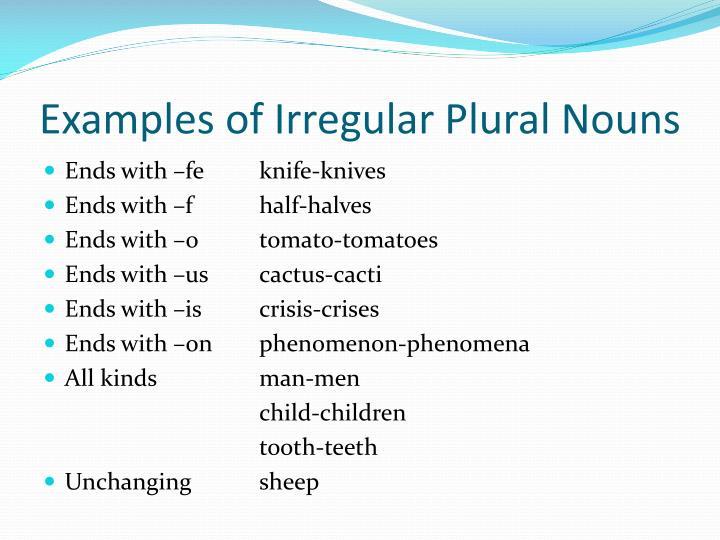 Examples of Irregular Plural Nouns