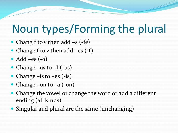 Noun types/Forming the plural