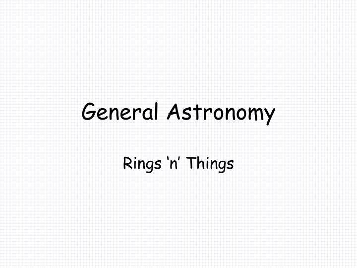 General astronomy