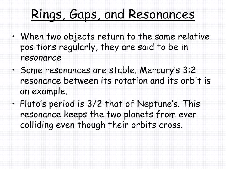 Rings, Gaps, and Resonances