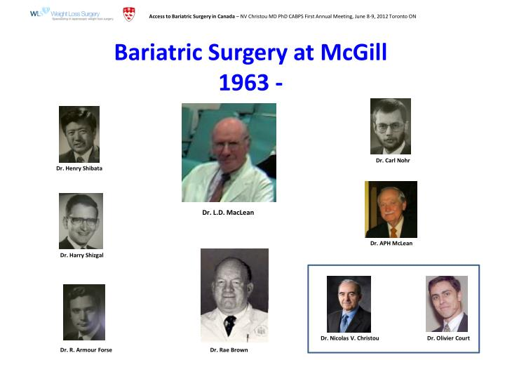 Bariatric surgery at mcgill 1963