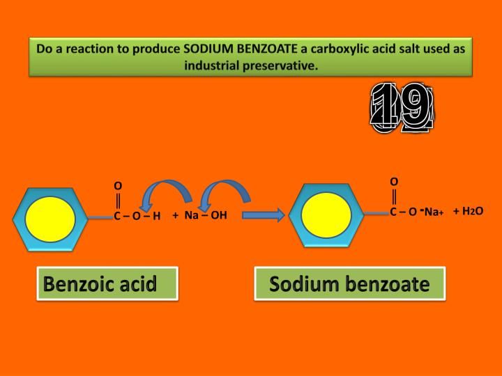 Do a reaction to produce SODIUM BENZOATE a carboxylic acid salt used as industrial preservative.