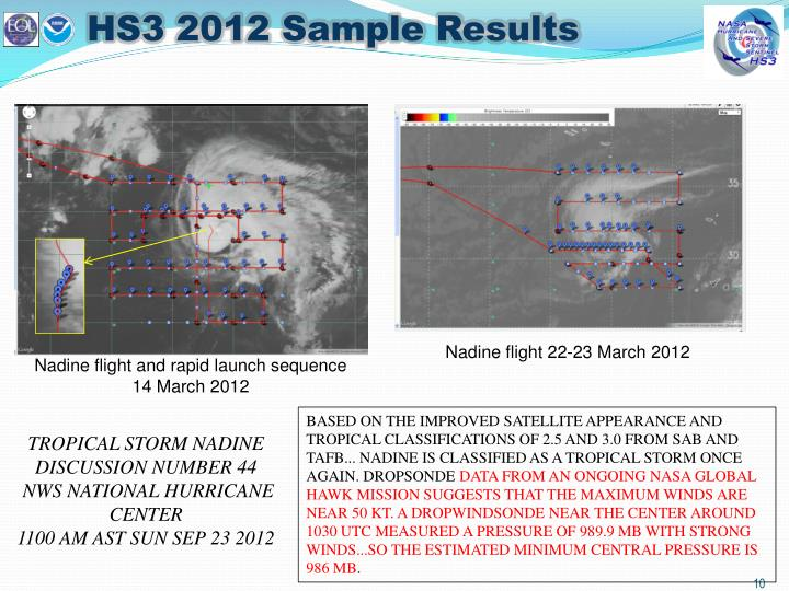 HS3 2012 Sample Results