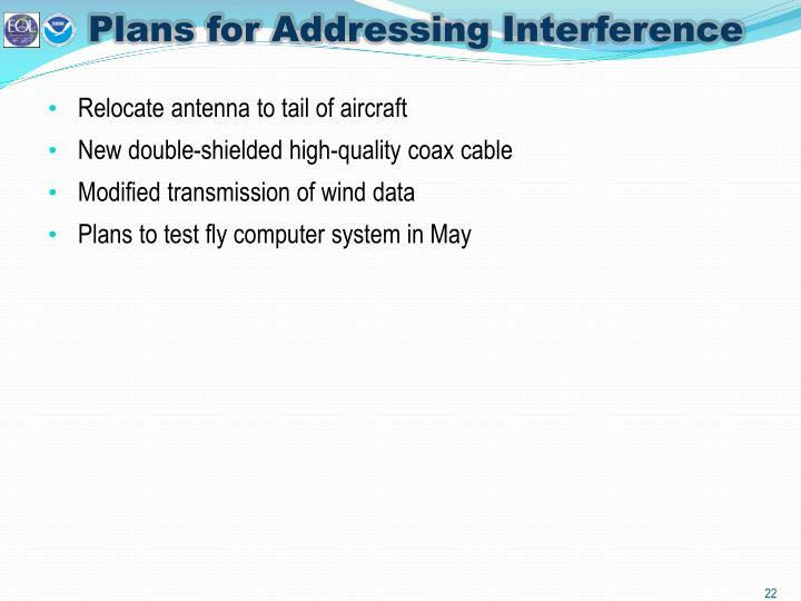 Plans for Addressing Interference