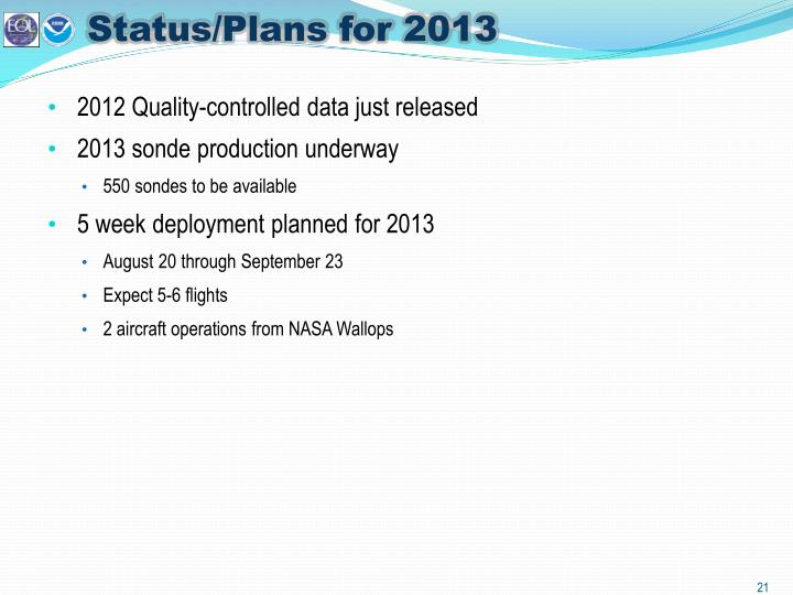 Status/Plans for 2013