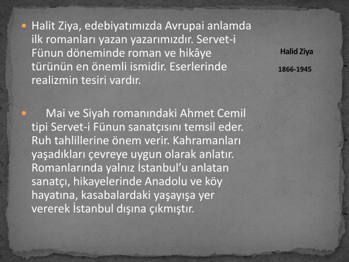 Halit Ziya, edebiyatımızda Avrupai anlamda ilk romanları yazan yazarımızdır. Servet-i Fünun döneminde roman ve hikâye türünün en önemli ismidir. Eserlerinde realizmin tesiri vardır.