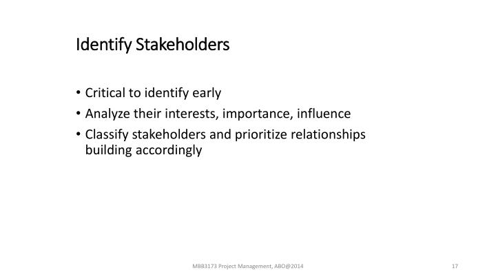 Identify Stakeholders