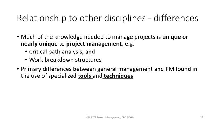 Relationship to other disciplines - differences