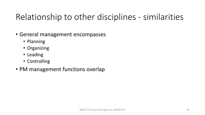 Relationship to other disciplines - similarities