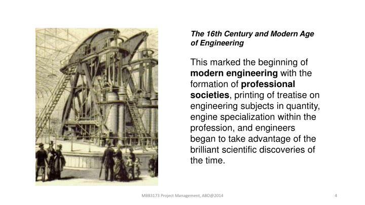 The 16th Century and Modern Age of