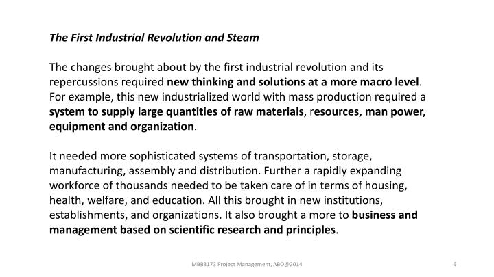 The First Industrial Revolution and Steam