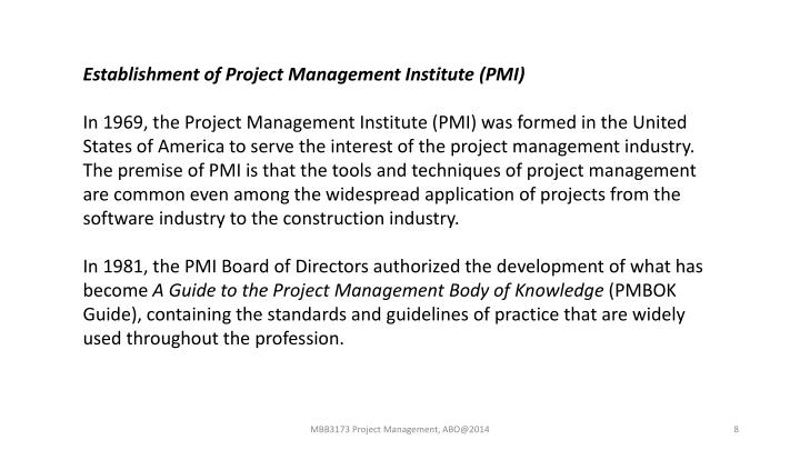 Establishment of Project Management Institute (PMI)
