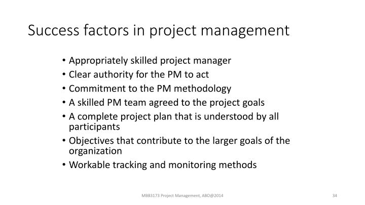 Success factors in project management
