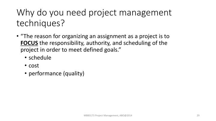 Why do you need project management techniques?