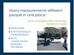 many measurements different people in one place