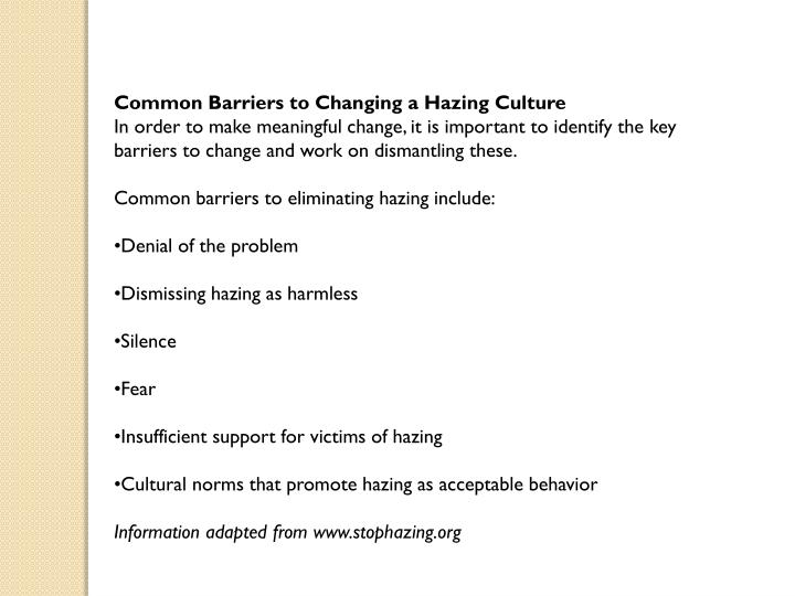 Common Barriers to Changing a Hazing Culture
