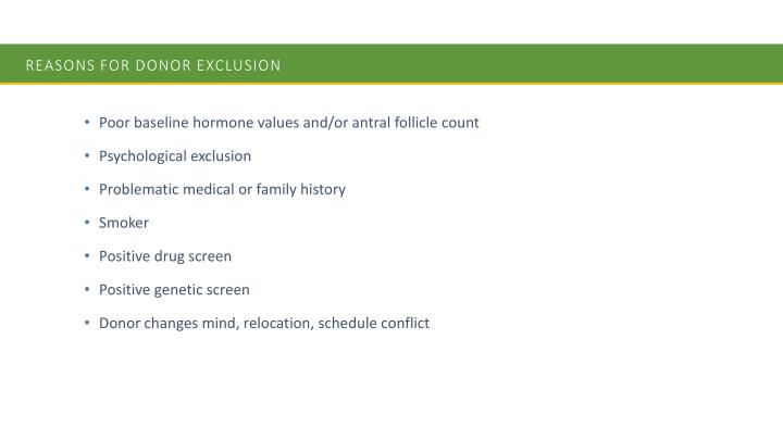 Reasons for Donor Exclusion