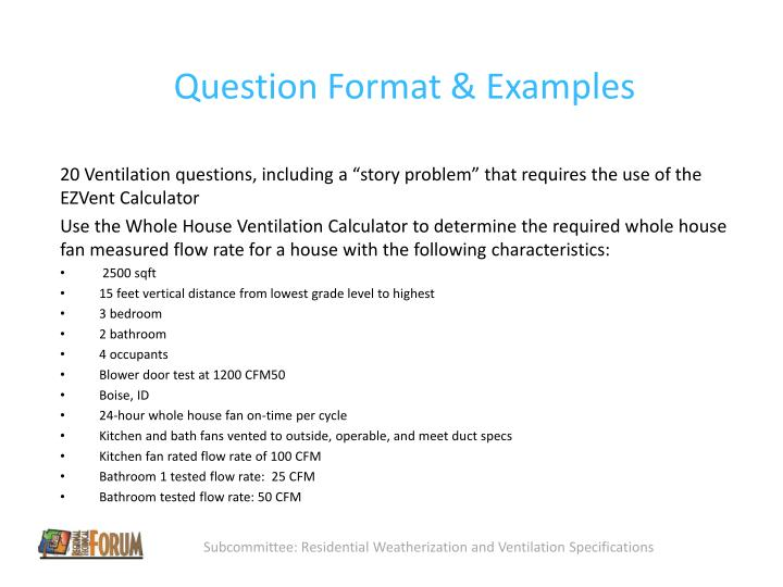 Question Format & Examples