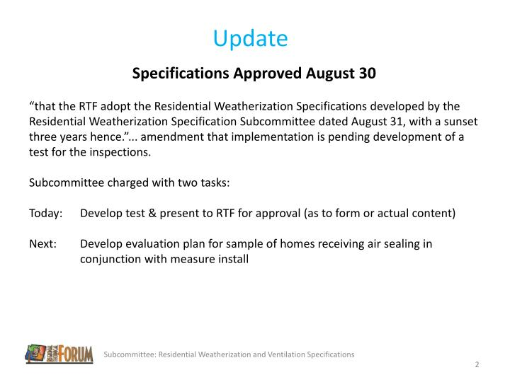Specifications Approved August 30