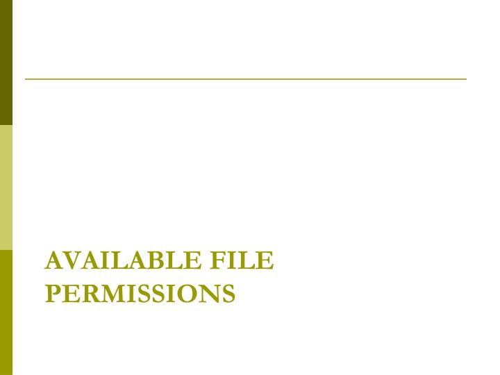 Available File permissions