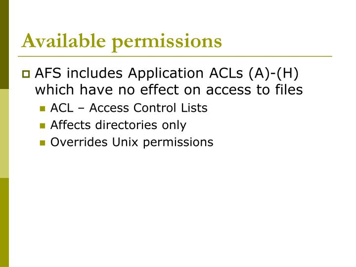 Available permissions